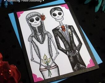 Bride + Groom in 'Neon' / Calavera Wedding Handmade Greeting Card