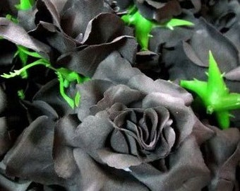 2x huge black roses artificial silk flower heads 6 inches 12 black roses artificial silk flower heads 375 inches wholesale lot for wedding work make hair clips headbands hats mightylinksfo