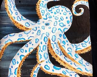 10x10 original painted Blue ringed octopus