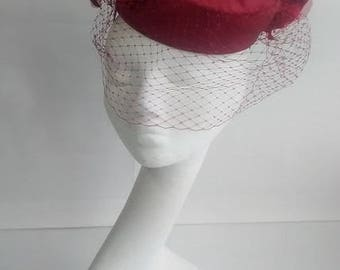 Red Silk Pill Box Hat with silk and velvet roses and veil