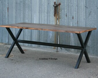 Vintage Industrial Dining Table. Minimalist Desk. Modern Reclaimed Wood and Steel Dining Table.  Bench Available Separately. Made to Order.