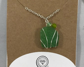 Green sea glass necklace / wire wrapped sea glass jewelry / beach glass necklace / authentic sea glass jewelry / gifts for her
