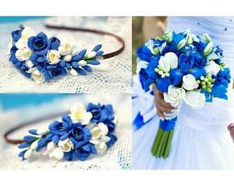 bride bouquet, bride headband, roses bride bouquet, blue bouquet, roses bride, iris bride bouquet, bridesmaid corsage, custom bouquet