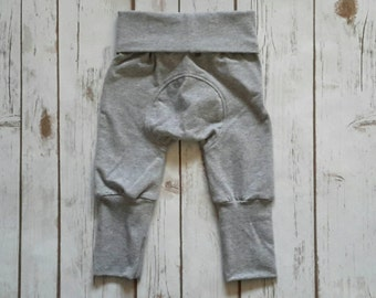 Miniloones Grow With Me Pants Heather Grey Baby Pants