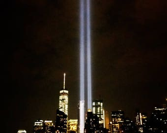 Memorial 9/11 Lights, Seen from the East River with Freedom Tower in the Background - New York City Photography