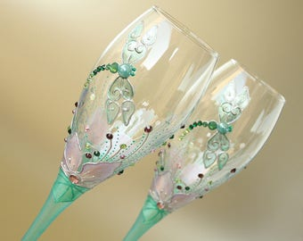 Dragonfly Glasses, Champagne Flute, Wedding Glasses, Hand Painted, set of 2