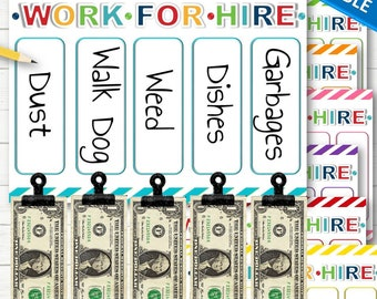 EDITABLE Work for Hire Chore Charts for Kids - INSTANT DOWNLOAD