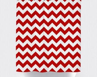 Red and white chevron fabric shower curtain, high quality shower curtain, shower curtain, chevron, bathroom decor, home decor, red and white