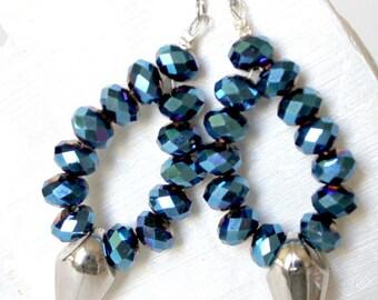Crystal blue oval earrings