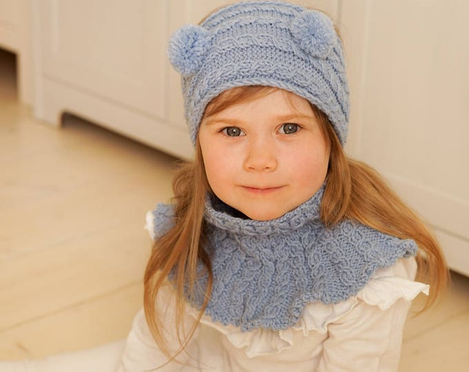 Knitted headband and cowl set Caterpillar (kids size)