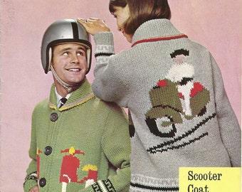 P&B 9076 Vintage Knitting Pattern Vespa Scooter Cardigan Jacket Coat
