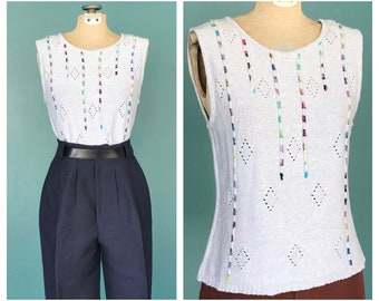 Grey Boho Knit Tank, Fitted Tank, Sweater Vest, Sleeveless Top, Sweater Top, Summer Sweater, Knit Vest, Size Small, TaraLynEvansStudio