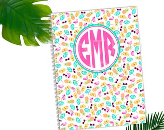 Tropical Monogram Personalized Spiral Bound Notebook | FREE SHIPPING | Back To School | 50 sheets | Wide Ruled