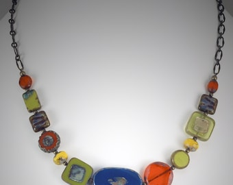 Blue, Orange and Chartreuse Czech Glass Bead Necklace