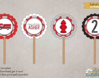 Custom Fire Truck Birthday Party Cupcake Toppers, Fireman Boy Baby Shower, DIY, Printable Template, Instant Download #B118
