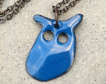 Enamel Owl Pendant, Necklace, Copper, Enameled Jewelry - Blue