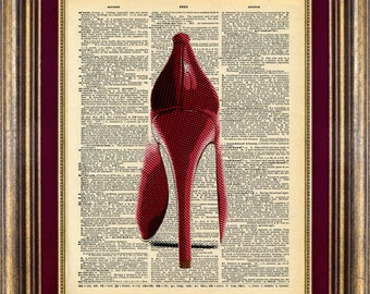 High Heel Shoe Page Art Print  Vintage Dictionary Page Up Cycled