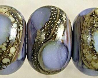 Purple Lampwork Glass Bead Set of 6 Handmade with Organic Silvered Ivory Web Small 11x7mm Amethyst