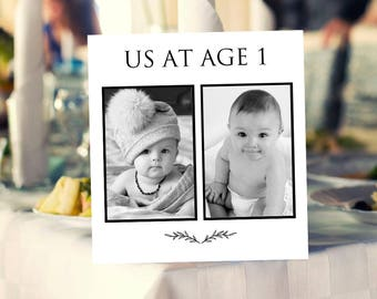 Personalized Photo Table Numbers Printable, Year Age Photo Table Number Cards Templates, Wedding Photo Cards Printable Templates