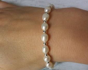 Bridal Freshwater Pearl Bracelet, Sterling Silver Bridal Bracelet, silver noodle bracelet, stretch bracelet, gift for her, bridesmaid gift