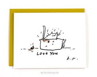 Litter Box Cat- Card from the Cat - Cat Dad or Cat Mom Card