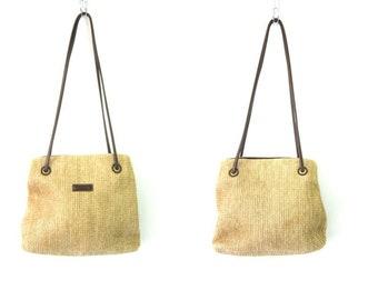 Preppy Shoulder Bag Simple Beige Khaki & Brown Purse Bucket Bag Vintage 90s Tote