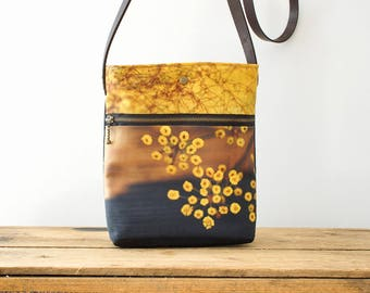Yellow flower pods shoulder bag, handbag pouch, crossbody bag with leather strap