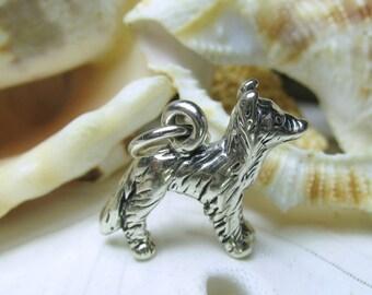 Sterling Silver Border Collie Dog Charm 3D Figural 3.43 grams
