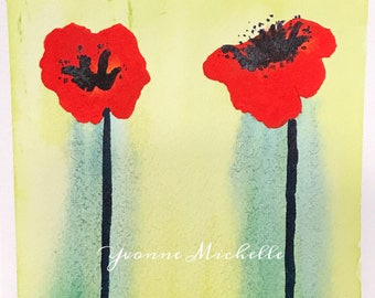Poppies No. 022 - Original Watercolor Painting, Floral, Art, Wall Decor