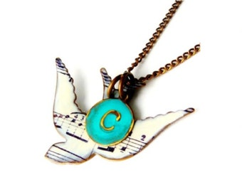 Personalized Graduation Gift a Song Bird Necklace With Initial Monogram for a Music Student Gift, Music Teacher Gift, Music Gift