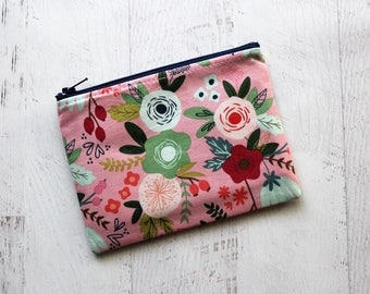 floral bag - zip pouch - floral zippered bag - floral small makeup bag - pink pouch - 10 dollar gifts - pink zipper pouch - floral wallet