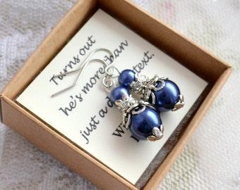 Navy earrings Navy blue jewelry Bridesmaid earrings Bridesmaid gift set Dark blue wedding earrings Rhinestone and pearl jewelry