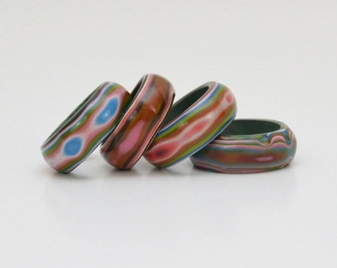 Vintage 1960s Multi Color Napkin Rings