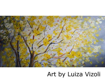 Original Painting Yellow Gray Blossom Tree Landscape Art by Luiza Vizoli 48x24