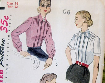1950s Vintage Sewing Pattern, Women's Blouse Pattern, Long Sleeve Blouse, Box Pleat Blouse, Simplicity 3661 /  Size 14
