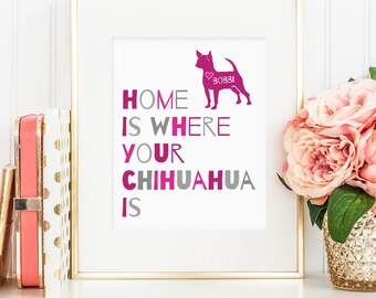 Home is where your Chihuahua is, Printable dog quote art decor, Personalize with name - Chihuahua art (Custom download - JPG)