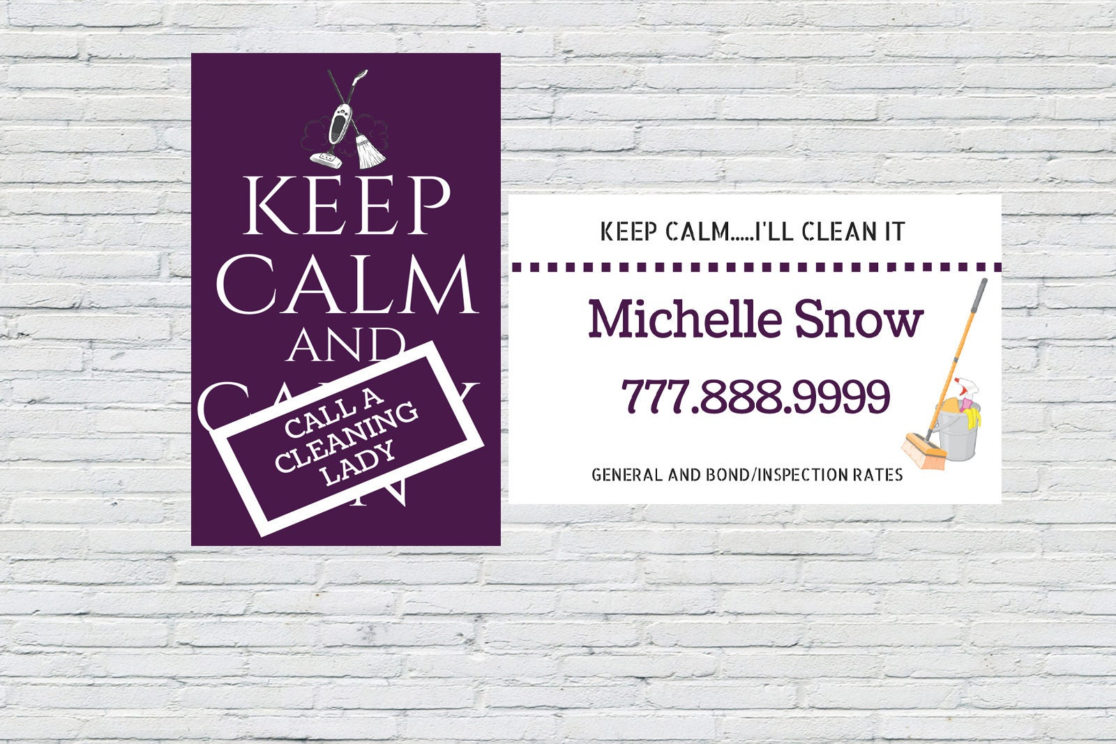 Housekeeping Business Card Cleaning Business Card Maid