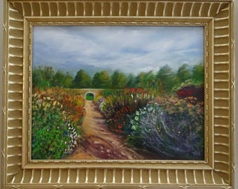 """Blooming Path Original Oil Garden Painting Landscape - Dramatic clouds, green trees, garden path, multi-colored flower beds 17"""" x 14"""""""