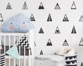 10 Stickers wall Black Mountain tipi