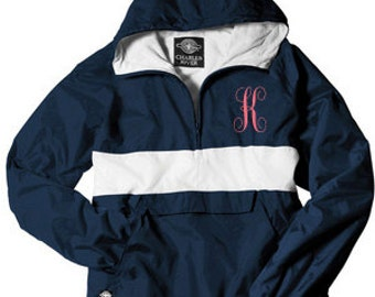 Monogrammed Rain Jacket Pullover, Personalized Rain Jacket Pullover, Lined Jacket Pullover, Stripe Jacket Pullover~ 10 colors - Windbreaker