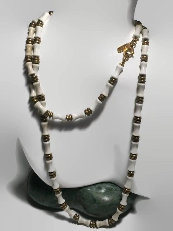 Monet Necklace Monet White Bone Necklace Monet Gold Tone