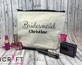 Large Personalized makeup bag-Cosmetic bag-Bridesmaid Gift-Brides Gift-Bridal party bags-Zipper pouch-Makeup Pouch-Monogram Bag-Teacher Gift