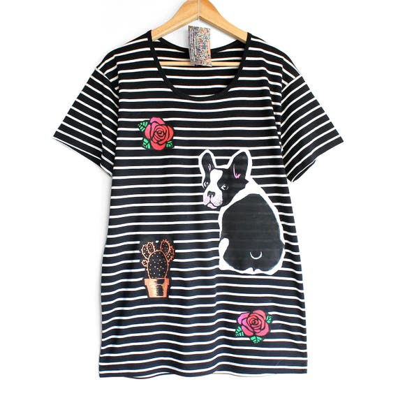 M DOGS and ROSES t shirt. Black t-shirt with white stripes. Dog t shirt. French Bulldog t-shirt. Dog persons t shirt.
