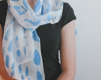 Hand Painted Silk Scarf - blue and white