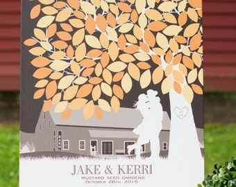 Wedding Signature Tree, Wedding Guest Book, Wedding GuestBook / Personalized Canvas Skyline & Silhouette Keepsake // W-T05-1PS HH3