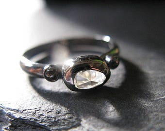 Zircon Ring Black Diamond Side Stones Goth Engagement Ring Promise Ring Black Rhodium Black Ring Size 7 1/2 Clear Gemstone Ring In Stock