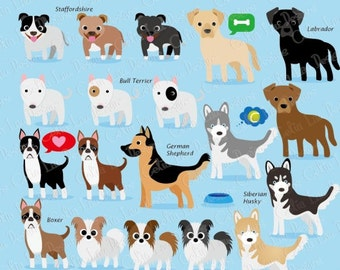 Dog Clipart, Puppy Clipart , cute dogs clip art, puppy clipart, (A023) /For Personal and Commercial Use/ INSTANT DOWNLOAD