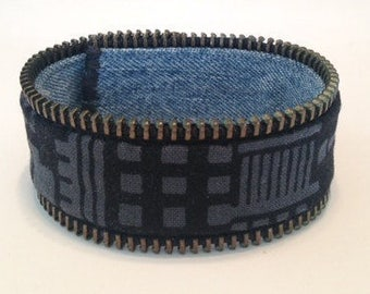 Zipper Bracelet - cityscape print/denim - reversible
