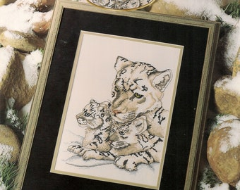 Cross Stitch Patterns Leaflet,Save Haven,White Tiger Cross Stitch Patterns,Wildlife Cross Stitch,White Tiger and Cubs,Counted Cross Stitch