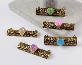 Wholesale Bronze Plated Rainbow Round Natural Titanium Druzy Bar Connector Double Bails Drusy Geode Charm Making Jewelry ZG0204